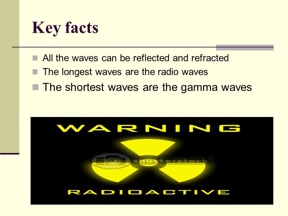 Key facts All the waves can be reflected and refracted The longest waves are the radio waves The shortest waves are the gamma waves