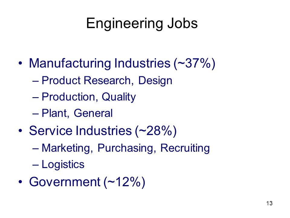 13 Engineering Jobs Manufacturing Industries (~37%) –Product Research, Design –Production, Quality –Plant, General Service Industries (~28%) –Marketin