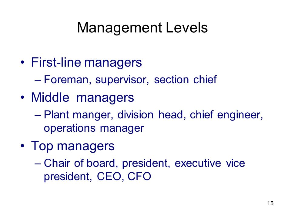 15 Management Levels First-line managers –Foreman, supervisor, section chief Middle managers –Plant manger, division head, chief engineer, operations