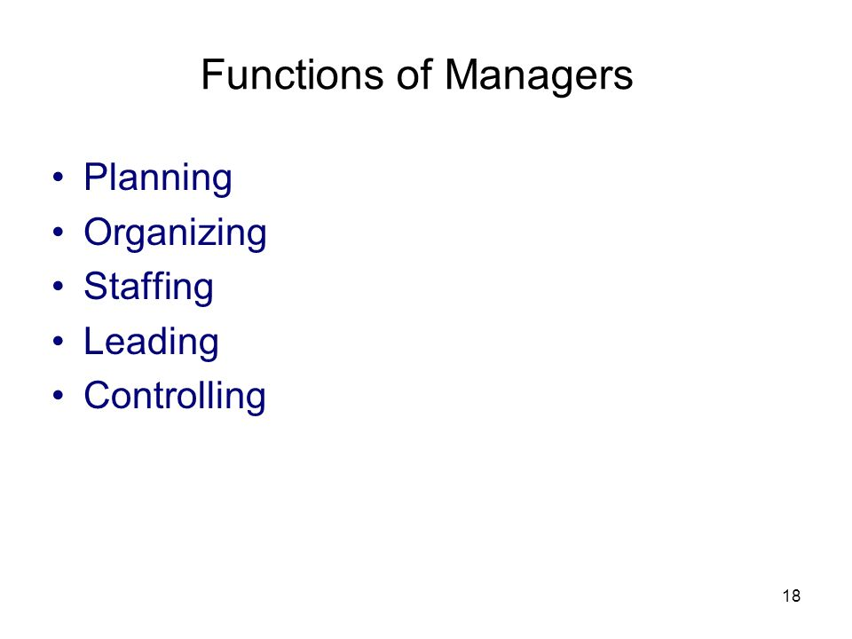 18 Functions of Managers Planning Organizing Staffing Leading Controlling
