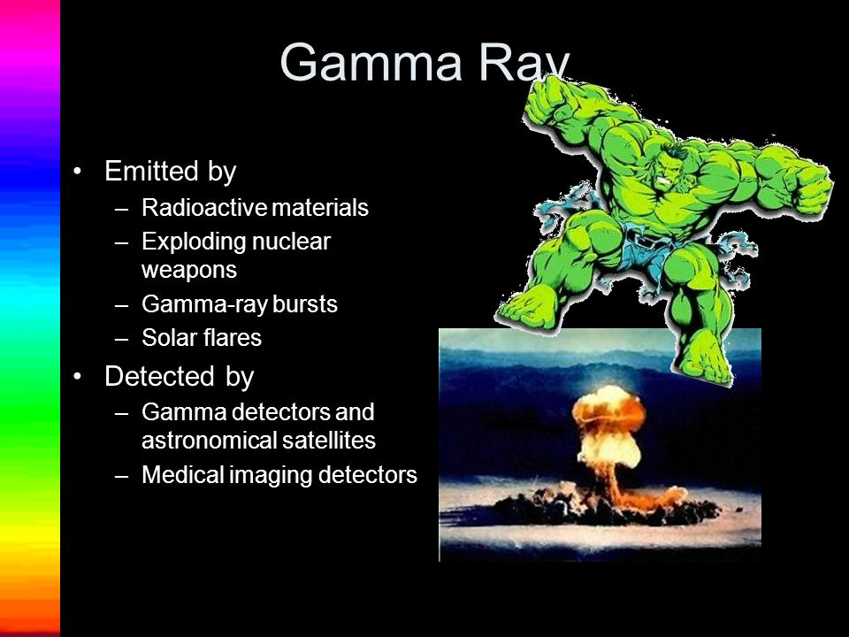 Gamma Ray Emitted by –Radioactive materials –Exploding nuclear weapons –Gamma-ray bursts –Solar flares Detected by –Gamma detectors and astronomical s