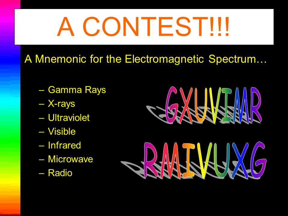 A Mnemonic for the Electromagnetic Spectrum… –Gamma Rays –X-rays –Ultraviolet –Visible –Infrared –Microwave –Radio A CONTEST!!!