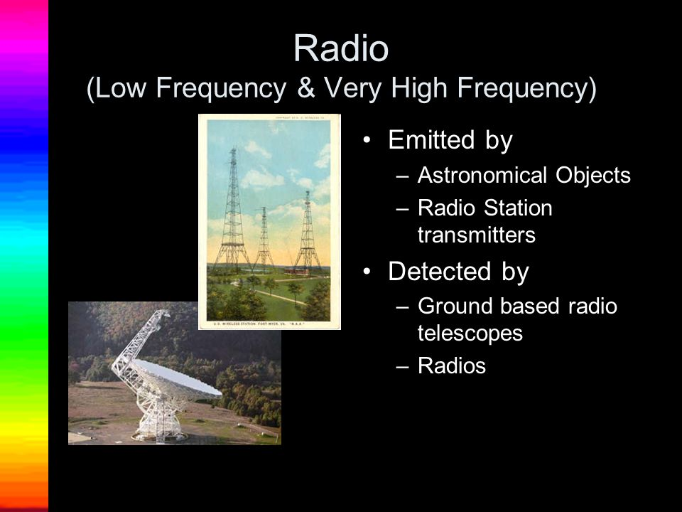 Radio (Low Frequency & Very High Frequency) Emitted by –Astronomical Objects –Radio Station transmitters Detected by –Ground based radio telescopes –R