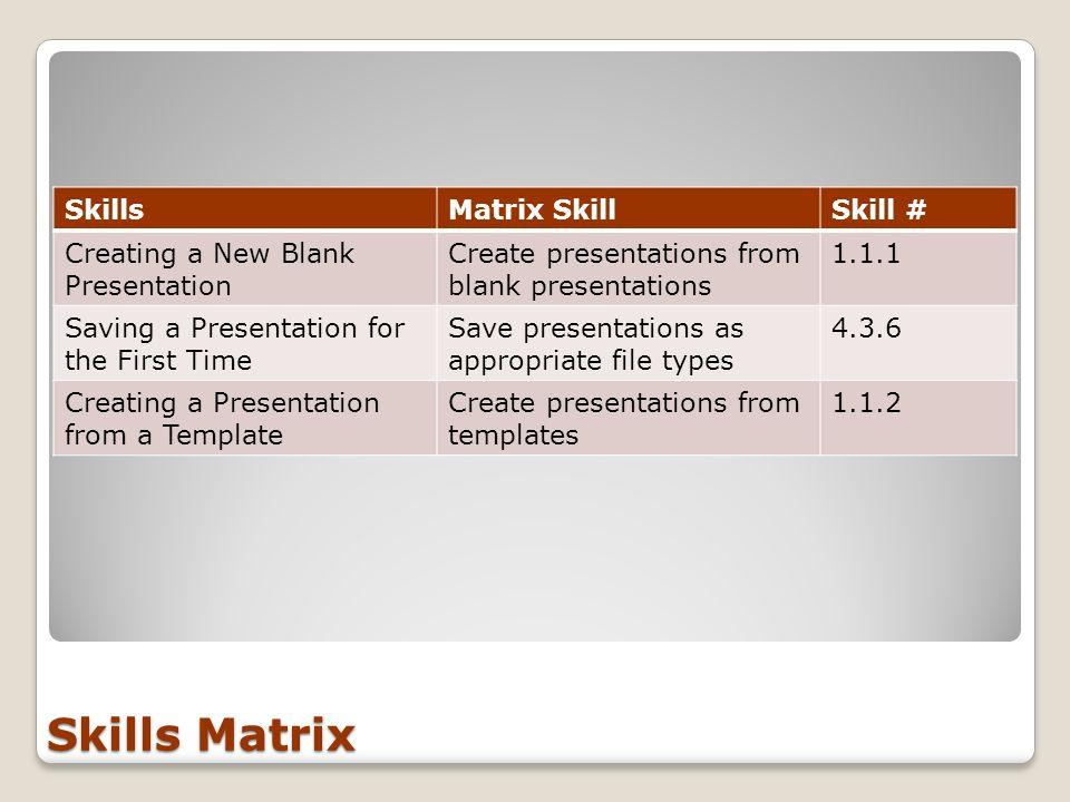 Skills Matrix SkillsMatrix SkillSkill # Creating a New Blank Presentation Create presentations from blank presentations 1.1.1 Saving a Presentation fo