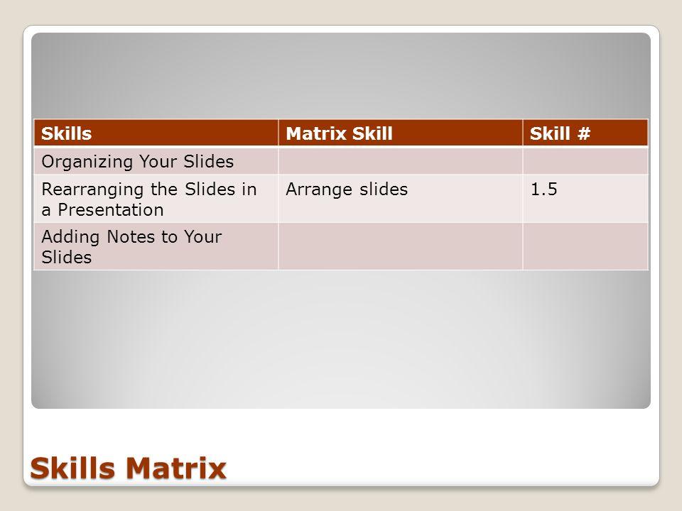 Skills Matrix SkillsMatrix SkillSkill # Organizing Your Slides Rearranging the Slides in a Presentation Arrange slides1.5 Adding Notes to Your Slides