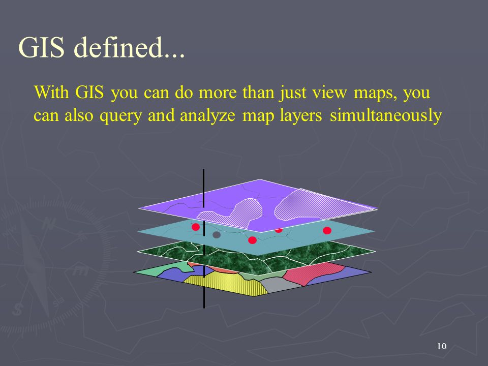 10 With GIS you can do more than just view maps, you can also query and analyze map layers simultaneously GIS defined...