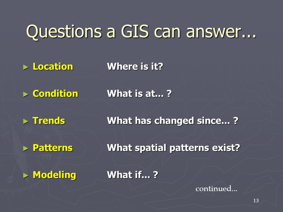13 Questions a GIS can answer... LocationWhere is it? LocationWhere is it? ConditionWhat is at... ? ConditionWhat is at... ? TrendsWhat has changed si