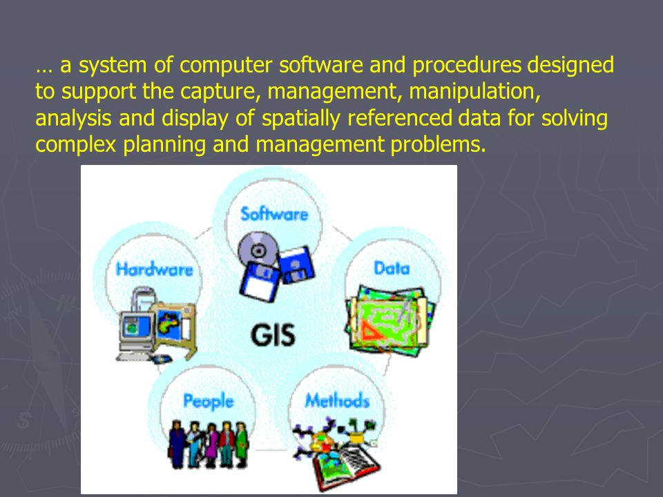 … a system of computer software and procedures designed to support the capture, management, manipulation, analysis and display of spatially referenced