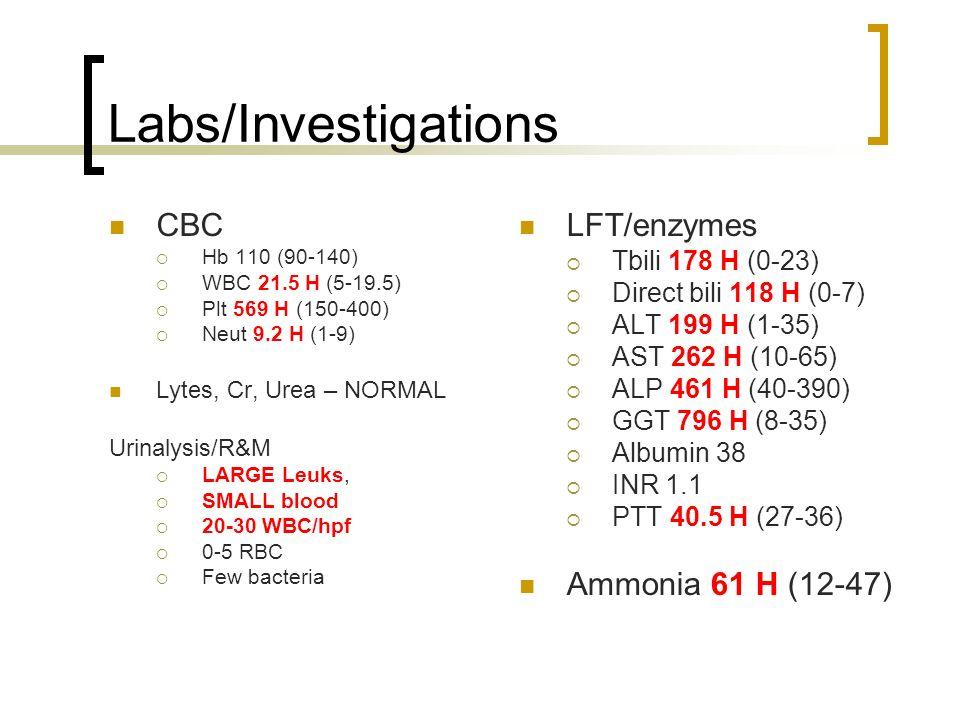 CBC Hb 110 (90-140) WBC 21.5 H (5-19.5) Plt 569 H (150-400) Neut 9.2 H (1-9) Lytes, Cr, Urea – NORMAL Urinalysis/R&M LARGE Leuks, SMALL blood 20-30 WB