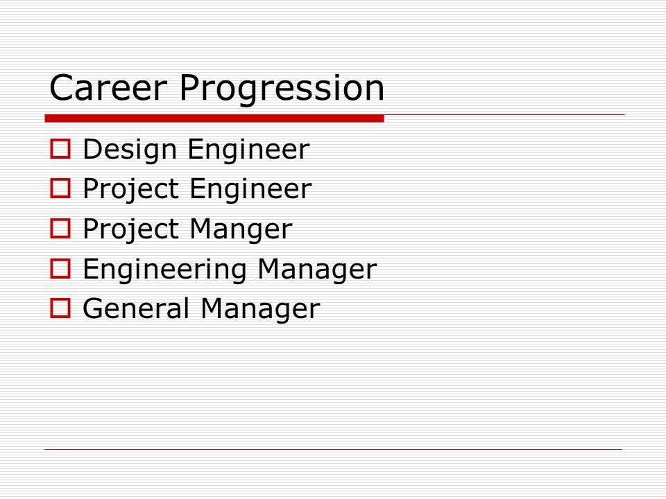 Career Progression Design Engineer Project Engineer Project Manger Engineering Manager General Manager