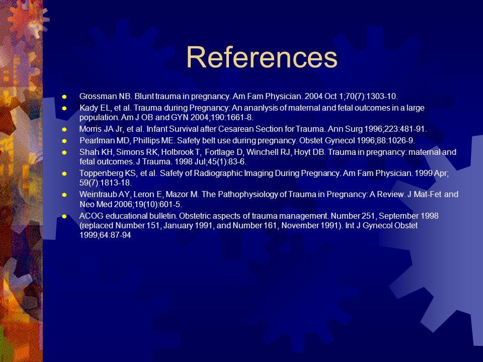 References Grossman NB. Blunt trauma in pregnancy. Am Fam Physician. 2004 Oct 1;70(7):1303-10. Kady EL, et al. Trauma during Pregnancy: An ananlysis o