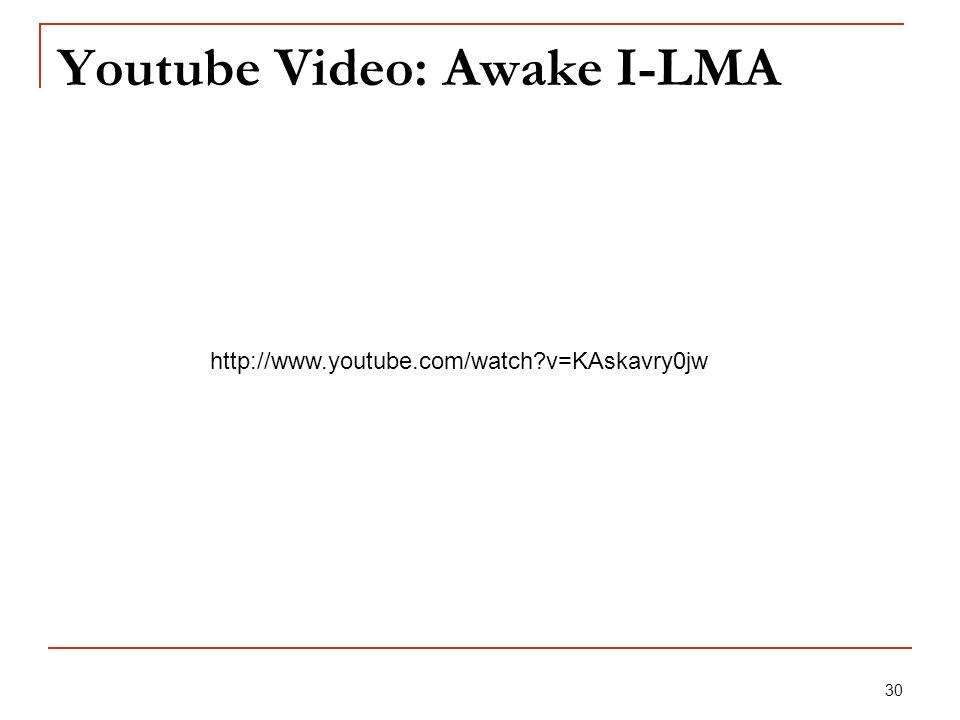 30 Youtube Video: Awake I-LMA http://www.youtube.com/watch?v=KAskavry0jw