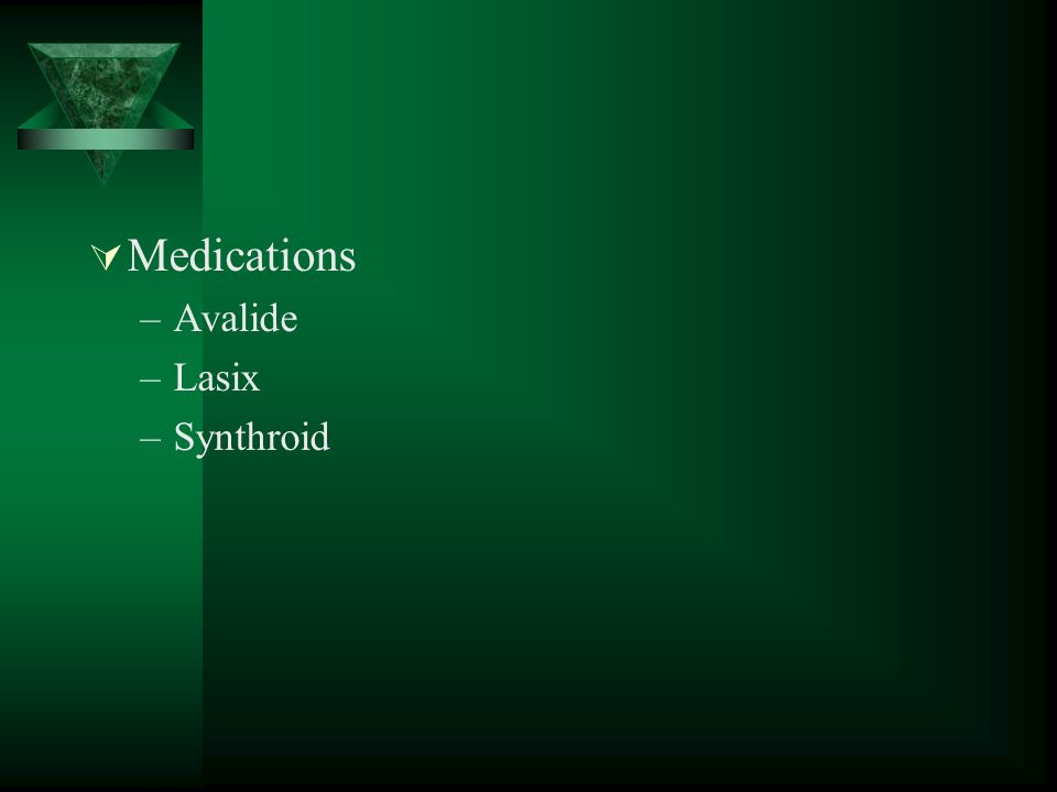 Medications –Avalide –Lasix –Synthroid