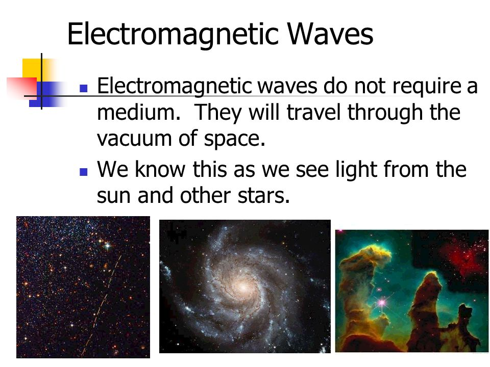 Electromagnetic Waves Electromagnetic waves do not require a medium. They will travel through the vacuum of space. We know this as we see light from t
