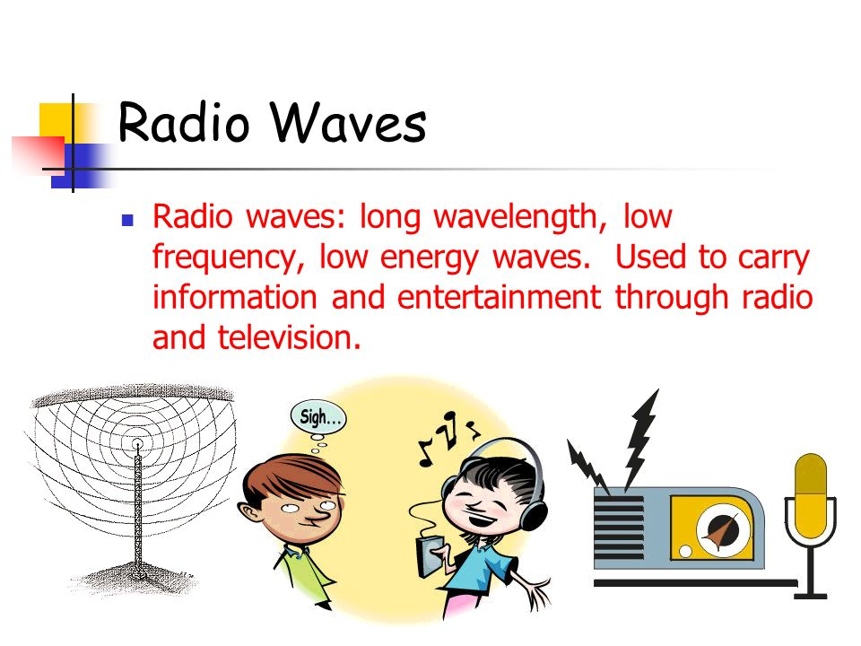 Radio Waves Radio waves: long wavelength, low frequency, low energy waves. Used to carry information and entertainment through radio and television.