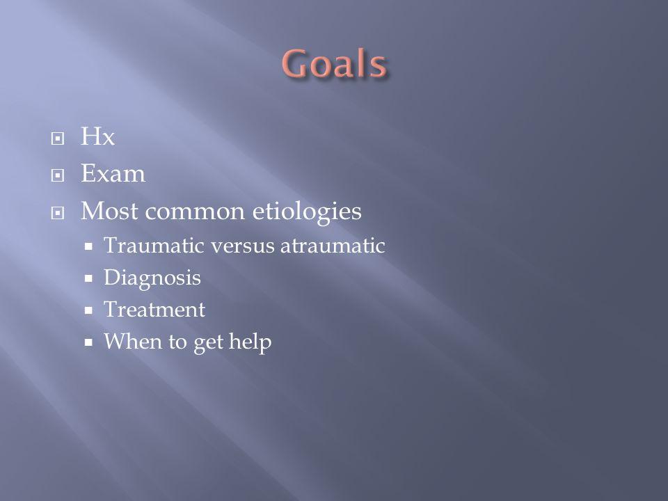 Hx Exam Most common etiologies Traumatic versus atraumatic Diagnosis Treatment When to get help
