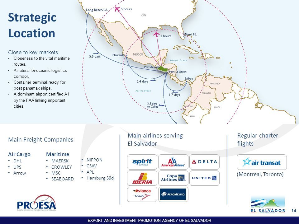 EXPORT AND INVESTMENT PROMOTION AGENCY OF EL SALVADOR 14 Main airlines serving El Salvador Strategic Location Main Freight Companies Air Cargo DHL UPS
