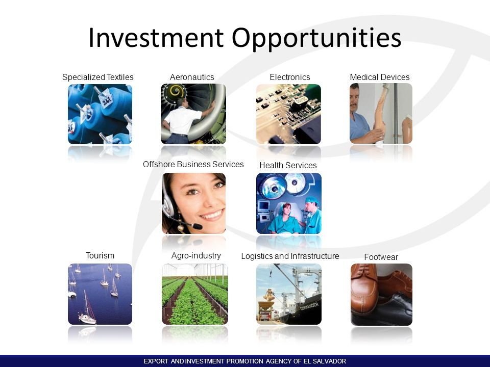 EXPORT AND INVESTMENT PROMOTION AGENCY OF EL SALVADOR Specialized TextilesAeronauticsElectronics Medical Devices Offshore Business Services Health Ser