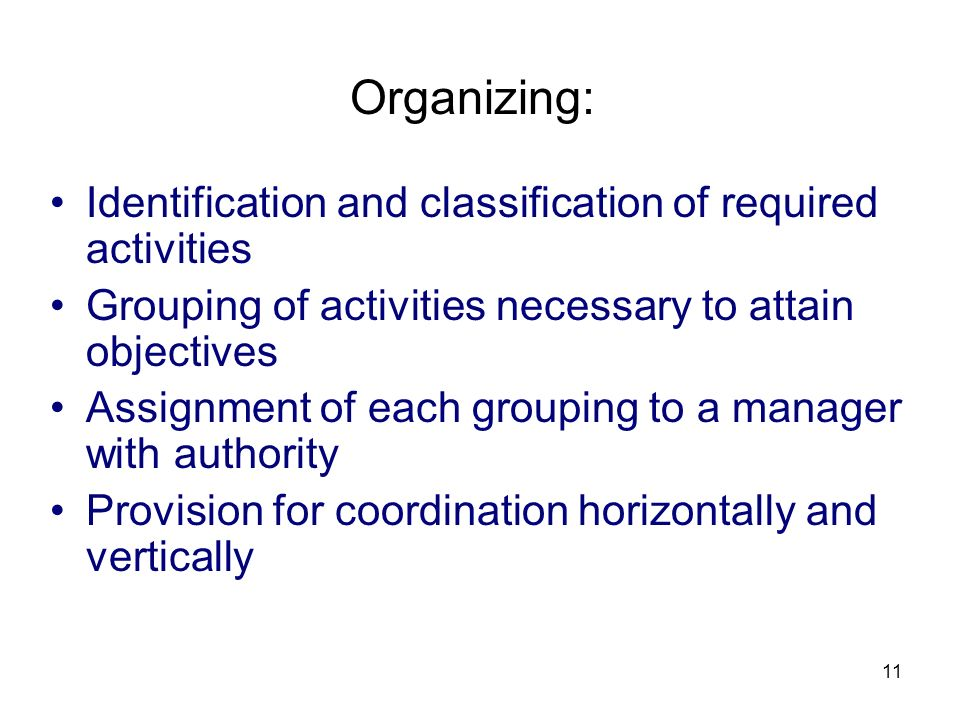 11 Organizing: Identification and classification of required activities Grouping of activities necessary to attain objectives Assignment of each group