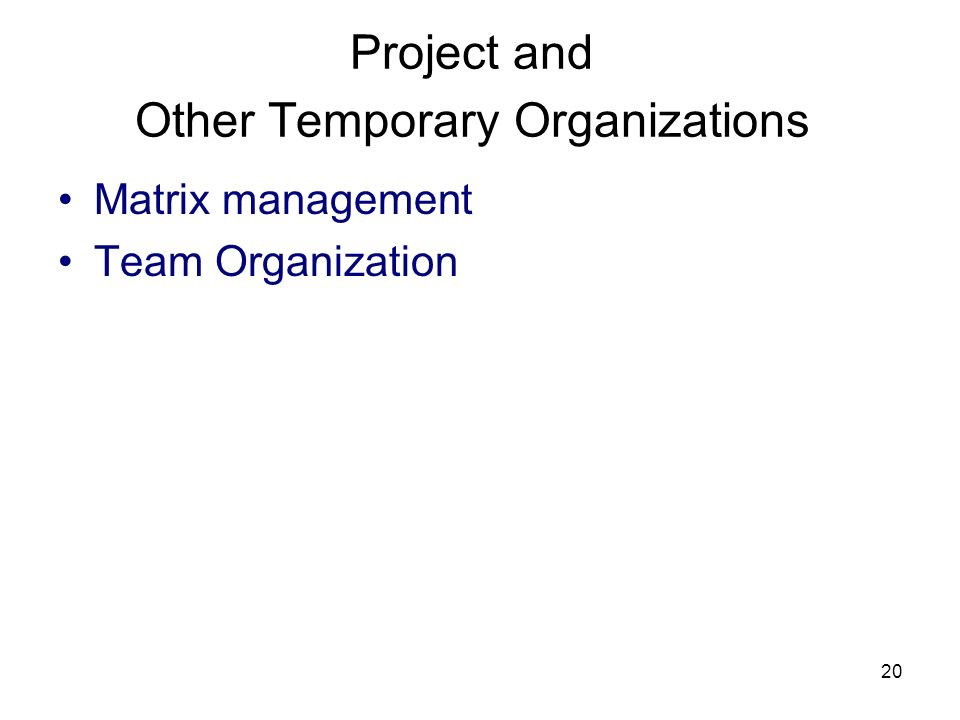 20 Project and Other Temporary Organizations Matrix management Team Organization