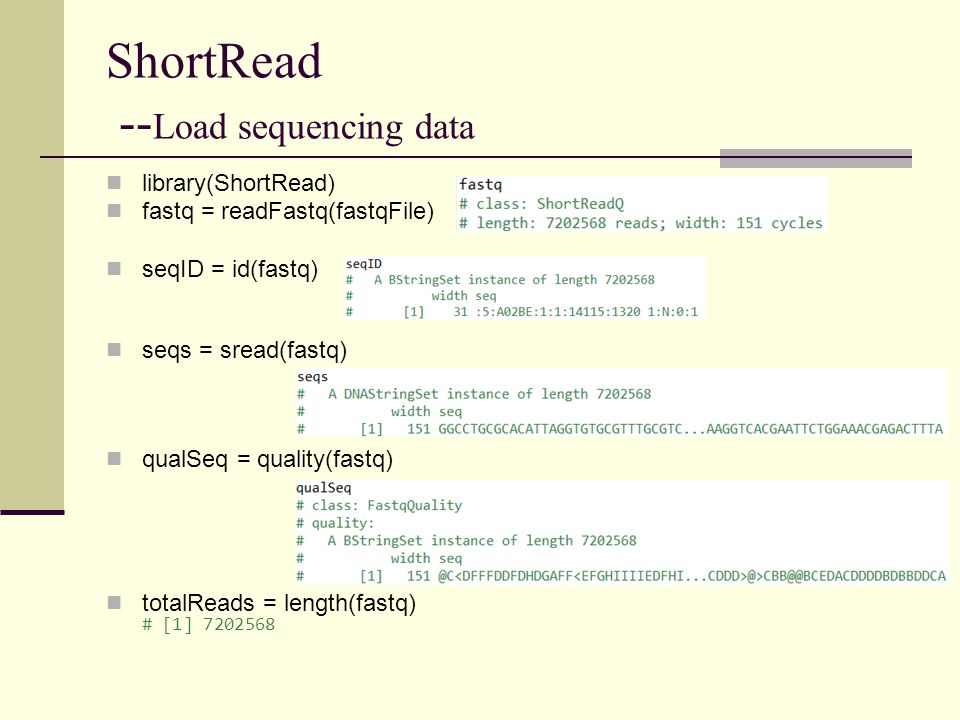 ShortRead -- Load sequencing data library(ShortRead) fastq = readFastq(fastqFile) seqID = id(fastq) seqs = sread(fastq) qualSeq = quality(fastq) total