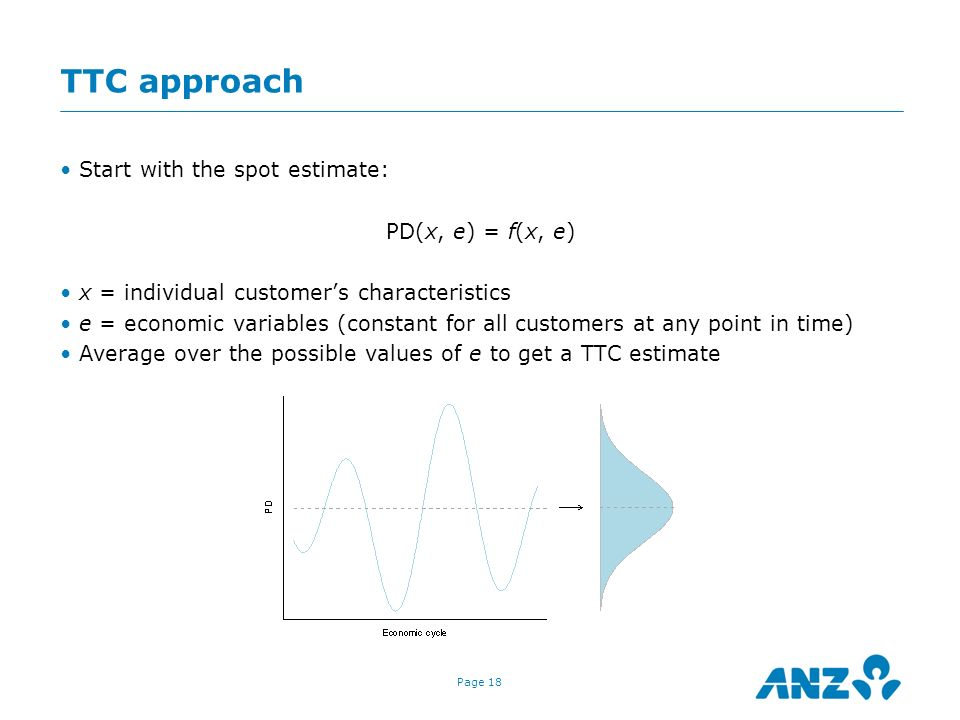 Page 18 TTC approach Start with the spot estimate: PD(x, e) = f(x, e) x = individual customers characteristics e = economic variables (constant for al