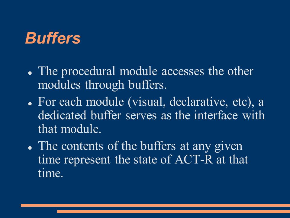 Buffers The procedural module accesses the other modules through buffers.