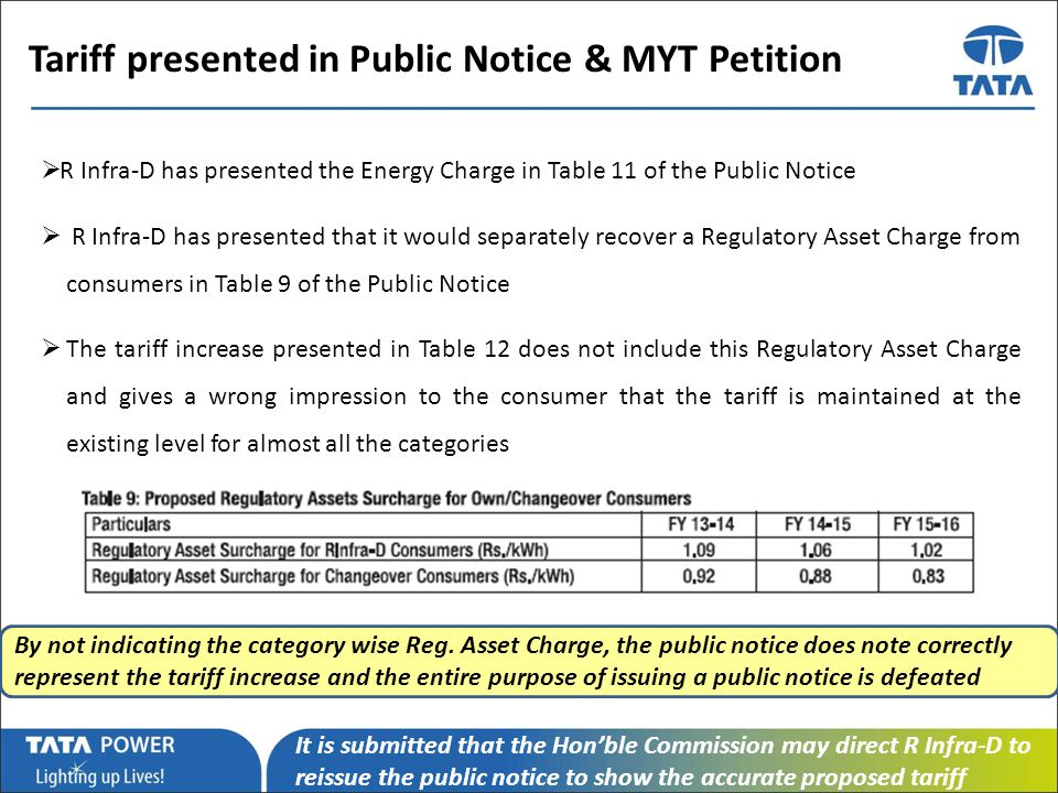 …Message Box ( Arial, Font size 18 Bold) Tariff presented in Public Notice & MYT Petition R Infra-D has presented the Energy Charge in Table 11 of the Public Notice R Infra-D has presented that it would separately recover a Regulatory Asset Charge from consumers in Table 9 of the Public Notice The tariff increase presented in Table 12 does not include this Regulatory Asset Charge and gives a wrong impression to the consumer that the tariff is maintained at the existing level for almost all the categories By not indicating the category wise Reg.
