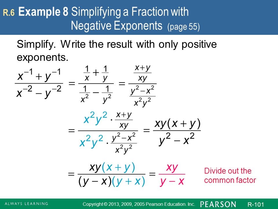 Copyright © 2013, 2009, 2005 Pearson Education. Inc. R-101 R.6 Example 8 Simplifying a Fraction with Negative Exponents (page 55) Simplify. Write the
