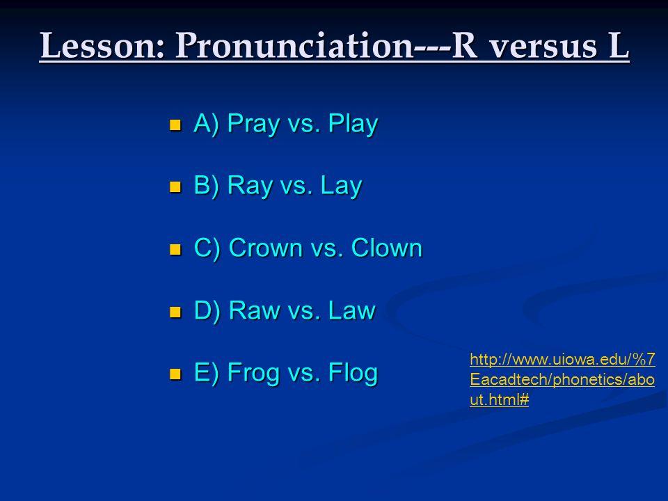 Lesson: Pronunciation---R versus L RAWLAW