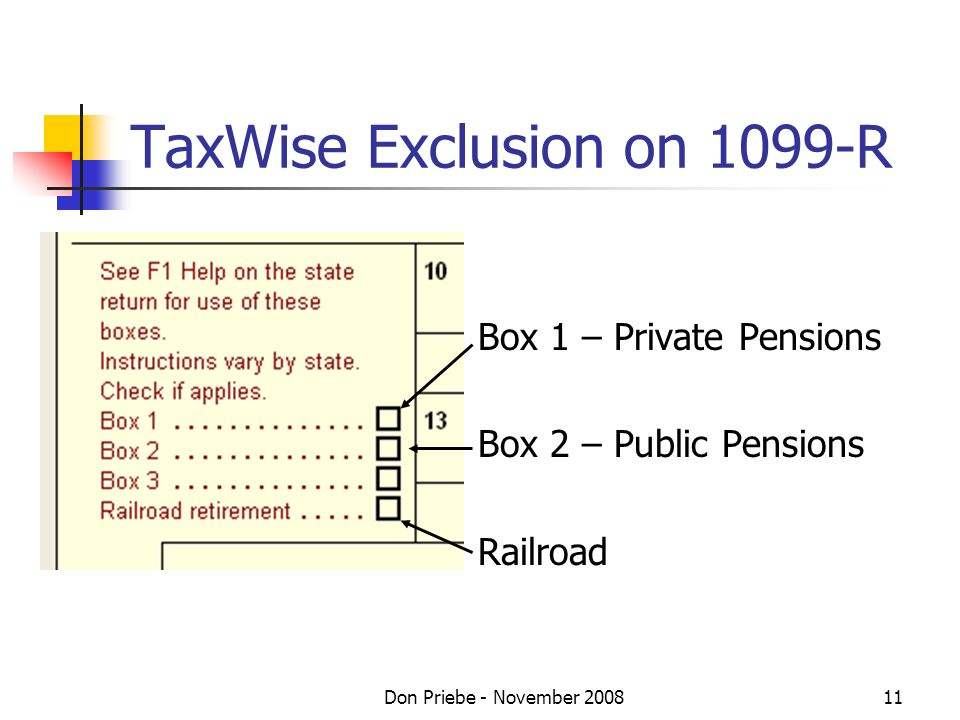 Don Priebe - November 200811 TaxWise Exclusion on 1099-R Box 1 – Private Pensions Box 2 – Public Pensions Railroad