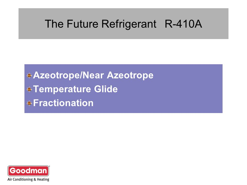 The Future Refrigerant R-410A Azeotrope/Near Azeotrope Temperature Glide Fractionation