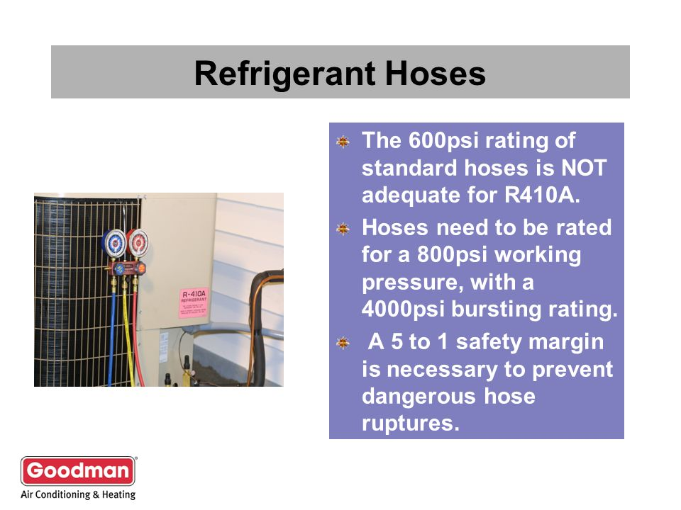 Refrigerant Hoses The 600psi rating of standard hoses is NOT adequate for R410A. Hoses need to be rated for a 800psi working pressure, with a 4000psi