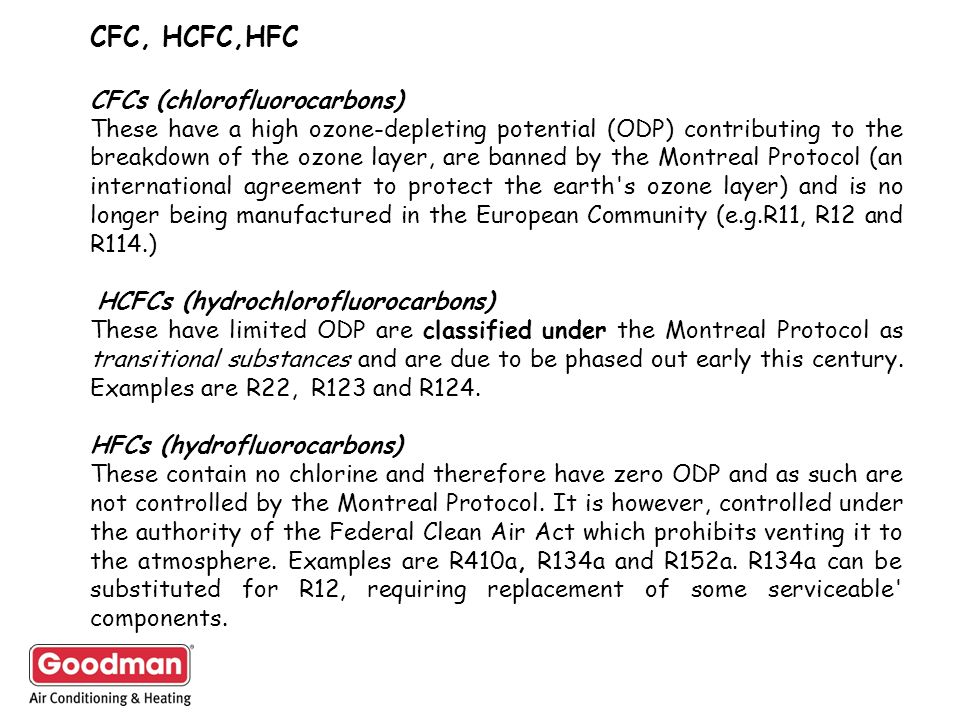 CFC, HCFC,HFC CFCs (chlorofluorocarbons) These have a high ozone depleting potential (ODP) contributing to the breakdown of the ozone layer, are banne