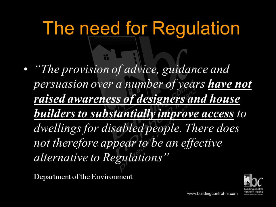 LEGISLATION Chronically Sick and Disabled Persons Act 1978 Disabled Persons Act 1982 Building Regulations 1994/2000 Disability Discrimination Act Equa