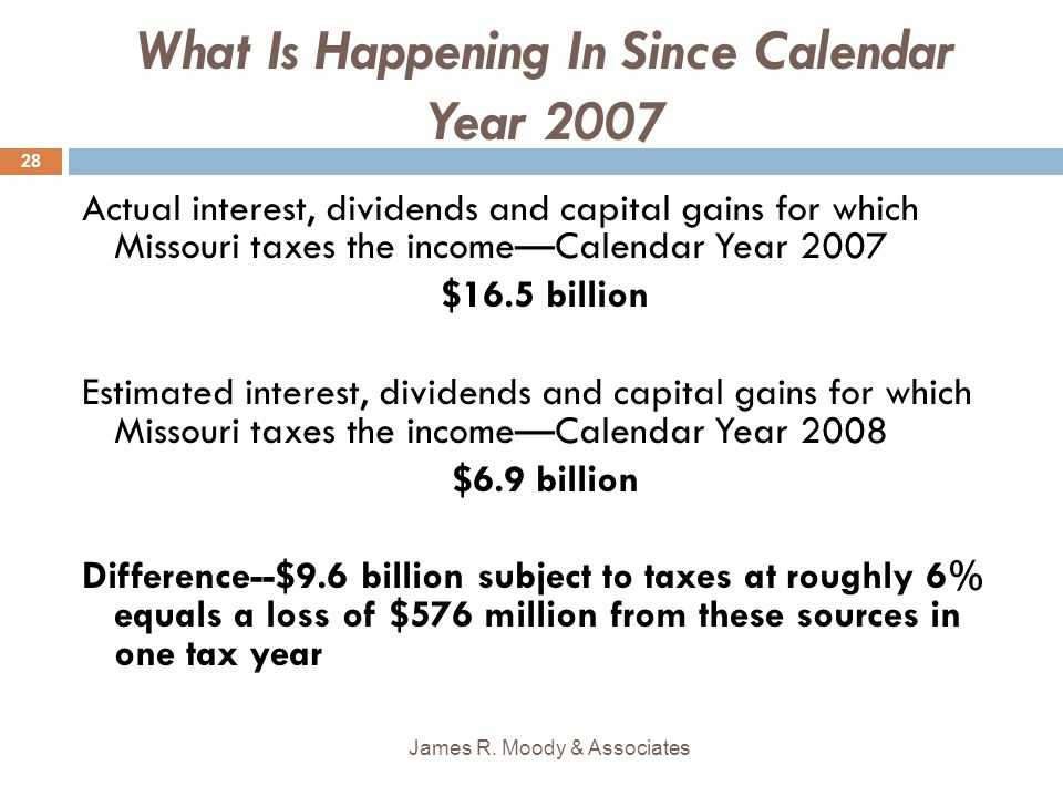 What Is Happening In Since Calendar Year 2007 Actual interest, dividends and capital gains for which Missouri taxes the incomeCalendar Year 2007 $16.5 billion Estimated interest, dividends and capital gains for which Missouri taxes the incomeCalendar Year 2008 $6.9 billion Difference--$9.6 billion subject to taxes at roughly 6% equals a loss of $576 million from these sources in one tax year James R.