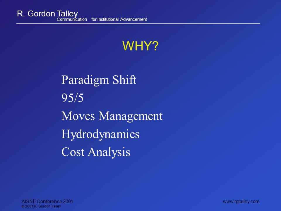 R. Gordon Talley Communication for Institutional Advancement www.rgtalley.com AISNE Conference 2001 © 2001 R. Gordon Talley WHY? Paradigm Shift 95/5 M