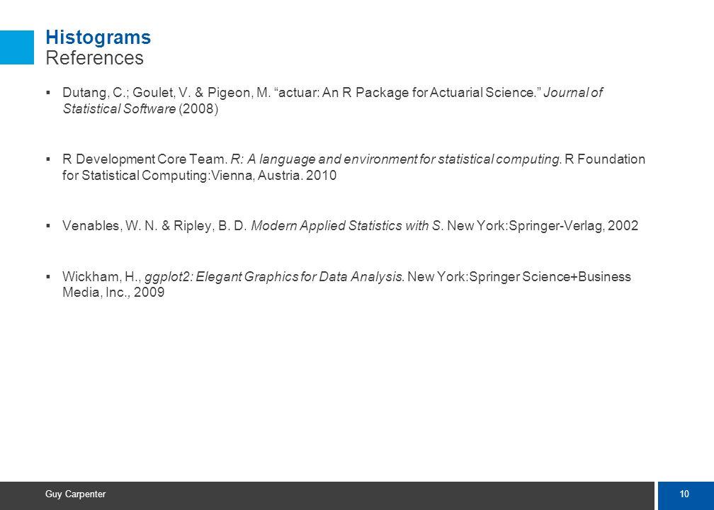 10 Guy Carpenter Histograms References Dutang, C.; Goulet, V.