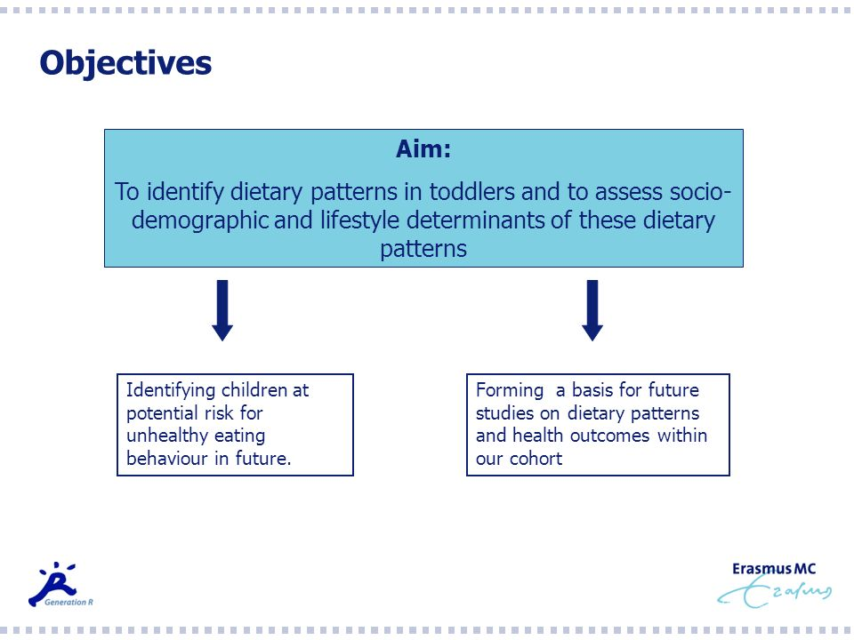 Objectives Aim: To identify dietary patterns in toddlers and to assess socio- demographic and lifestyle determinants of these dietary patterns Identif