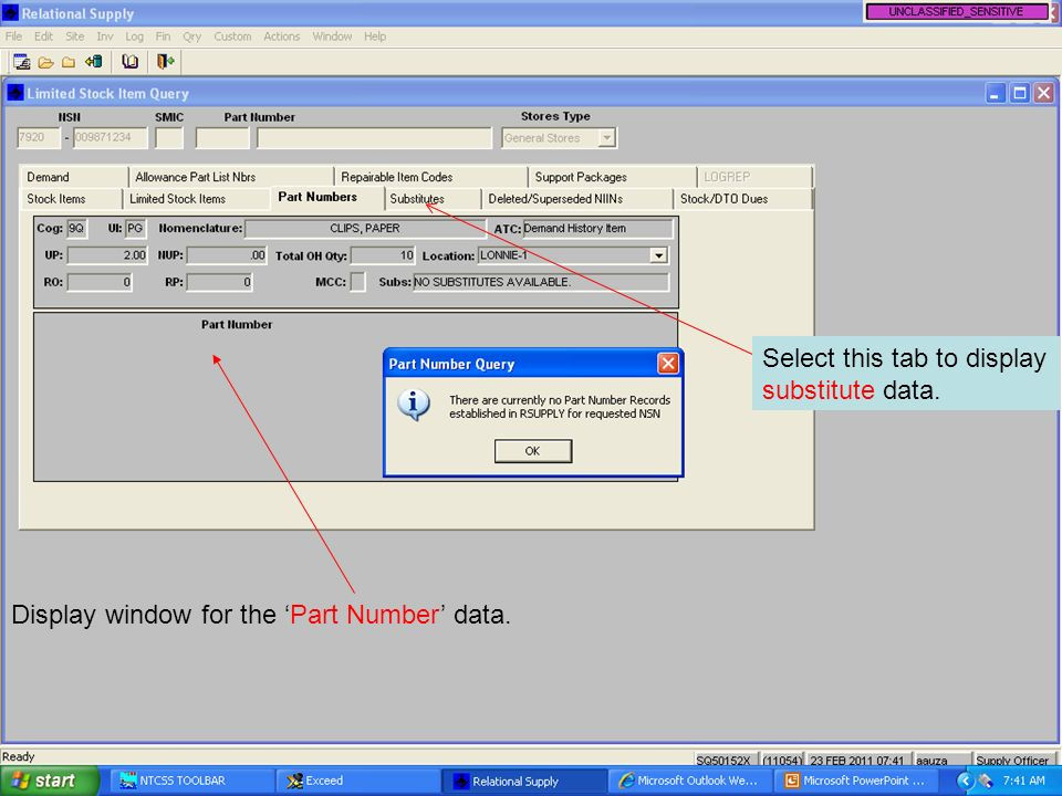 Display window for the Part Number data. Select this tab to display substitute data.