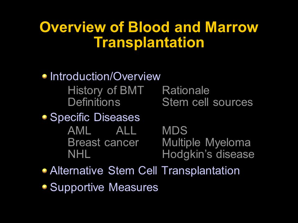 Introduction/Overview Specific Diseases Alternative Stem Cell Transplantation Supportive Measures Overview of Blood and Marrow Transplantation History
