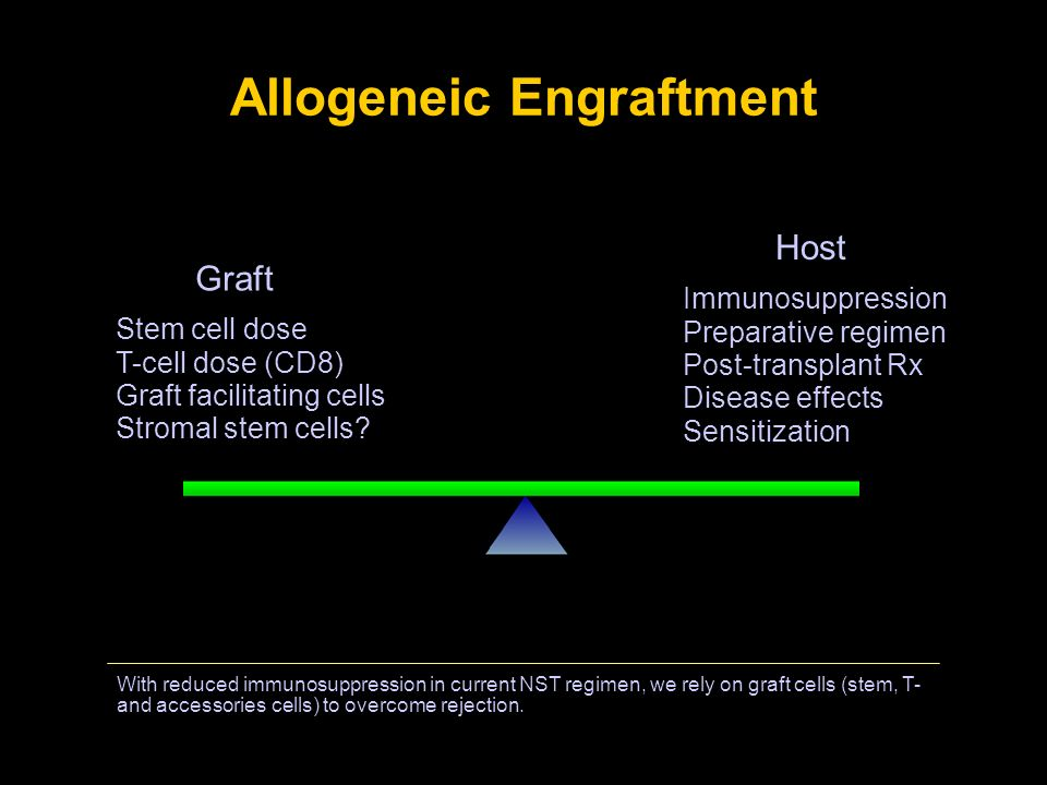 Allogeneic Engraftment With reduced immunosuppression in current NST regimen, we rely on graft cells (stem, T- and accessories cells) to overcome reje
