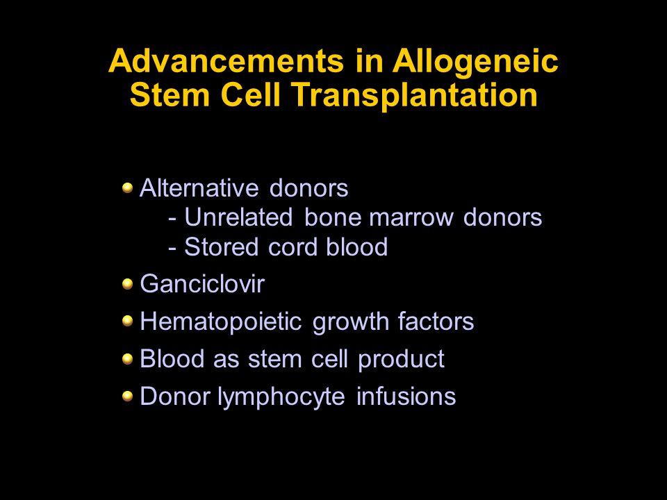 Advancements in Allogeneic Stem Cell Transplantation Alternative donors - Unrelated bone marrow donors - Stored cord blood Ganciclovir Hematopoietic g