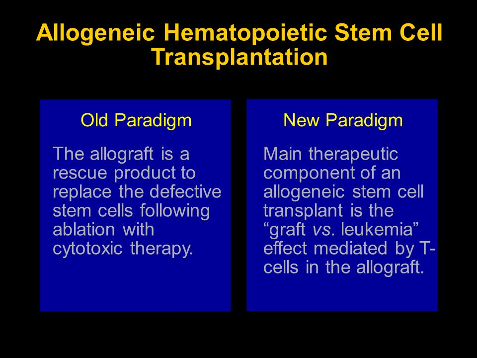 Allogeneic Hematopoietic Stem Cell Transplantation The allograft is a rescue product to replace the defective stem cells following ablation with cytot
