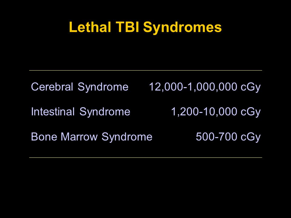 Lethal TBI Syndromes Cerebral Syndrome Intestinal Syndrome Bone Marrow Syndrome 12,000-1,000,000 cGy 1,200-10,000 cGy 500-700 cGy