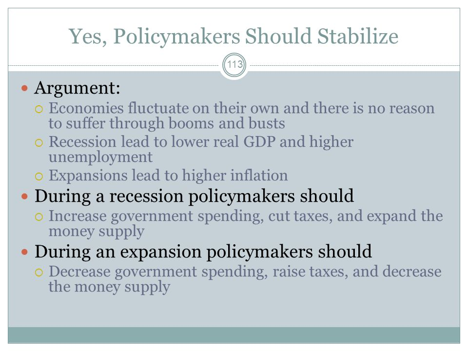 112 Should Policymakers Try to Stabilize the Economy?