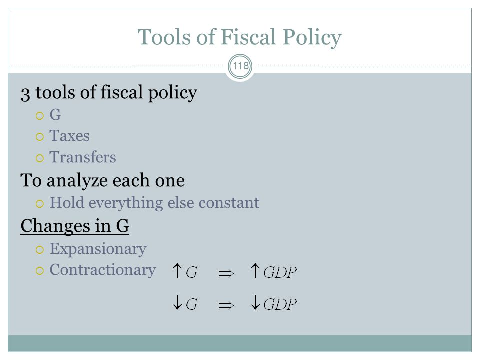 117 Fiscal Policy The use of the federal budget to achieve macro goals full employment sustained economic growth price level stability This use of fis