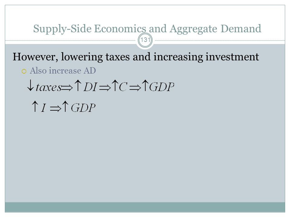 Fiscal Policy and Aggregate Supply 130 Tax policies encouraging I Lead to higher stocks of capital Increases aggregate supply Tax relief for firms in