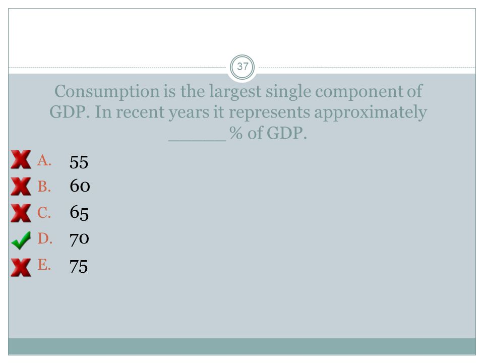 Consumption is the largest single component of GDP. In recent years it represents approximately _____ % of GDP. A. 55 B. 60 C. 65 D. 70 E. 75 36