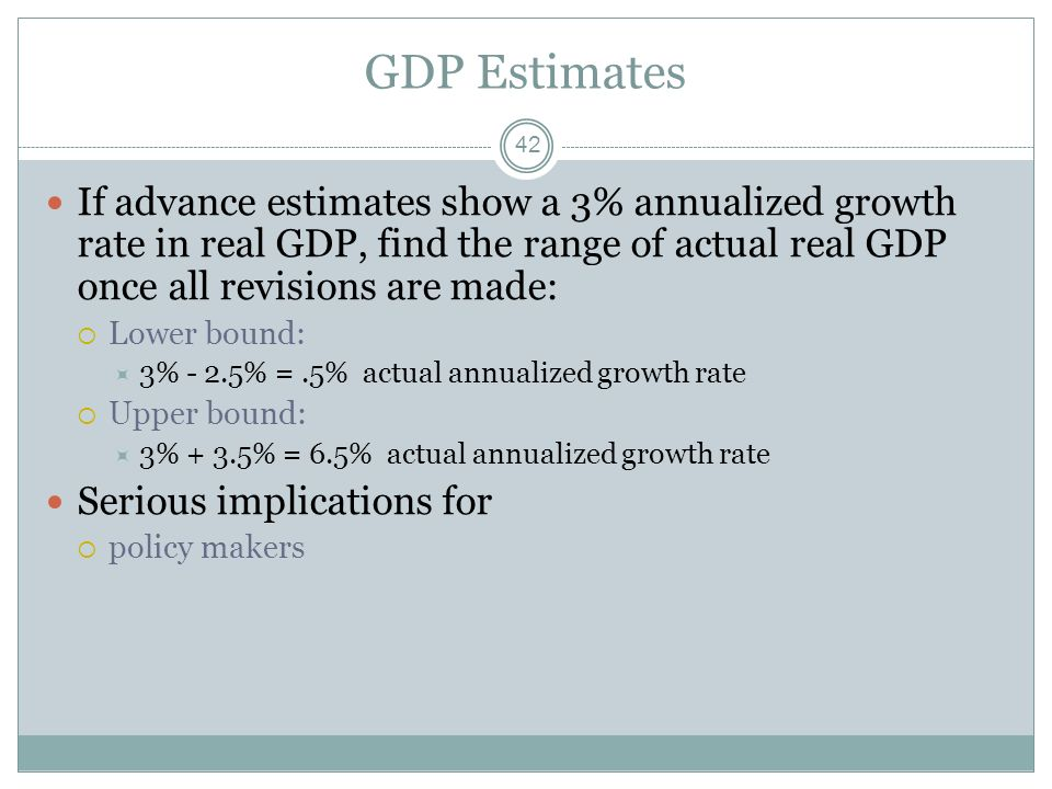 GDP Estimates 41 The media focuses on: Advance estimates Range of revisions can result in changes ranging from –2.5 % points to +3.5% points from adva